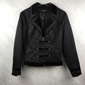 WHBM Quilted Black Zip Up Jacket, Size 12